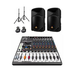 Behringer B115D Powered PA Speakers PAIR X1222USB Mixer + st