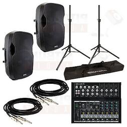 Gemini AS-15P Pair w/ Mackie Mix12Fx Mixer, Stands & Cables