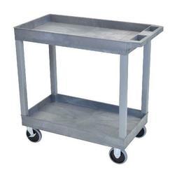 Luxor Heavy-Duty 2-Shelf Tub Cart, Gray