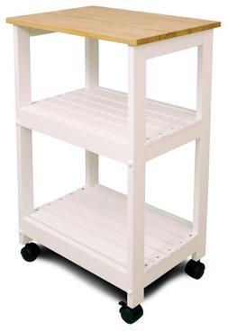 Catskill Kitchen Cart - White - 2 Shelf - Hardwood, Solid Wo
