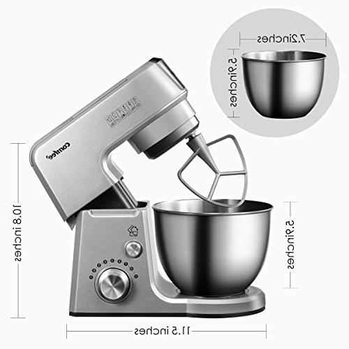 Comfee 2.6Qt Die 7-in-1 Multi Function Mixing Bowl, Whisk, 7 Pulse, 15 Minutes Planetary Mixer