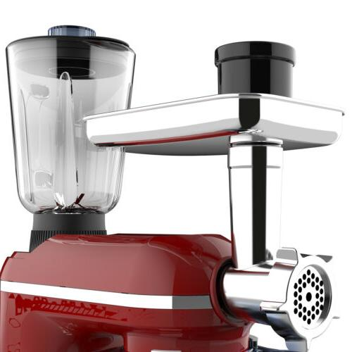 3 in Tilt-Head Mixer w/ 7QT 6 850W Meat Grinder Red