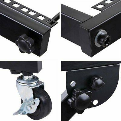 AW DJ Rack Mount Studio Stand Cart Adjustable Equip...