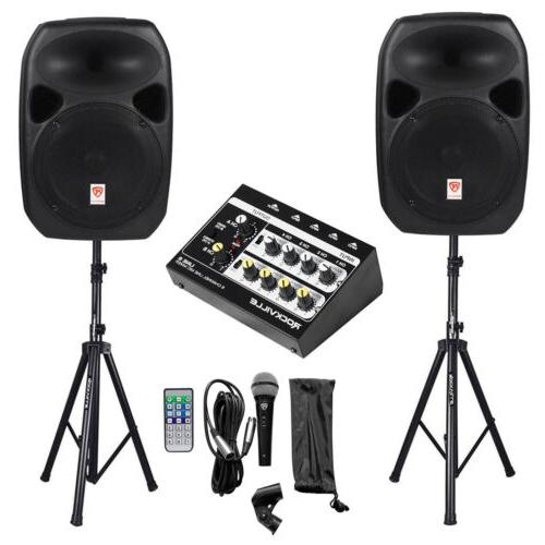 rpg122k dual 12 powered speakers bluetooth mic