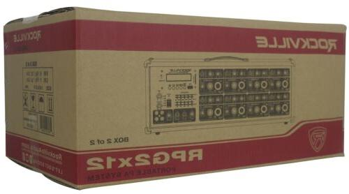 """Rockville Package System Mixer/Amp+12"""" Speakers+Stands+Mics+Bluetooth"""