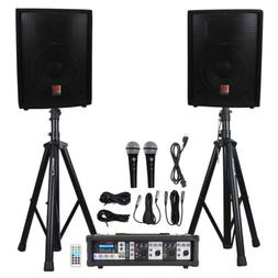 """Rockville RPG2X10 Package PA System Mixer/Amp+10"""" Speakers+S"""