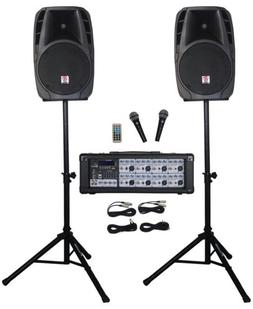 """Rockville RPG2X12 Package PA System Mixer/Amp+12"""" Speakers+S"""